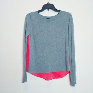 Express Gray/Pink Merino Wool Blend LS Top. Small